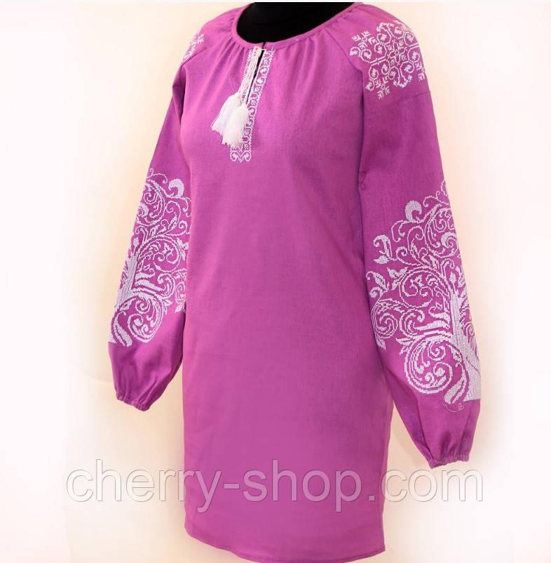 Женское красивое платье вышиванка из льна