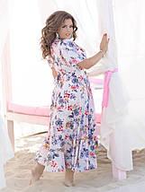 """Асимметричное платье-халат на запах """"Кэрри"""" с рукавами-крылышками (большие размеры), фото 2"""