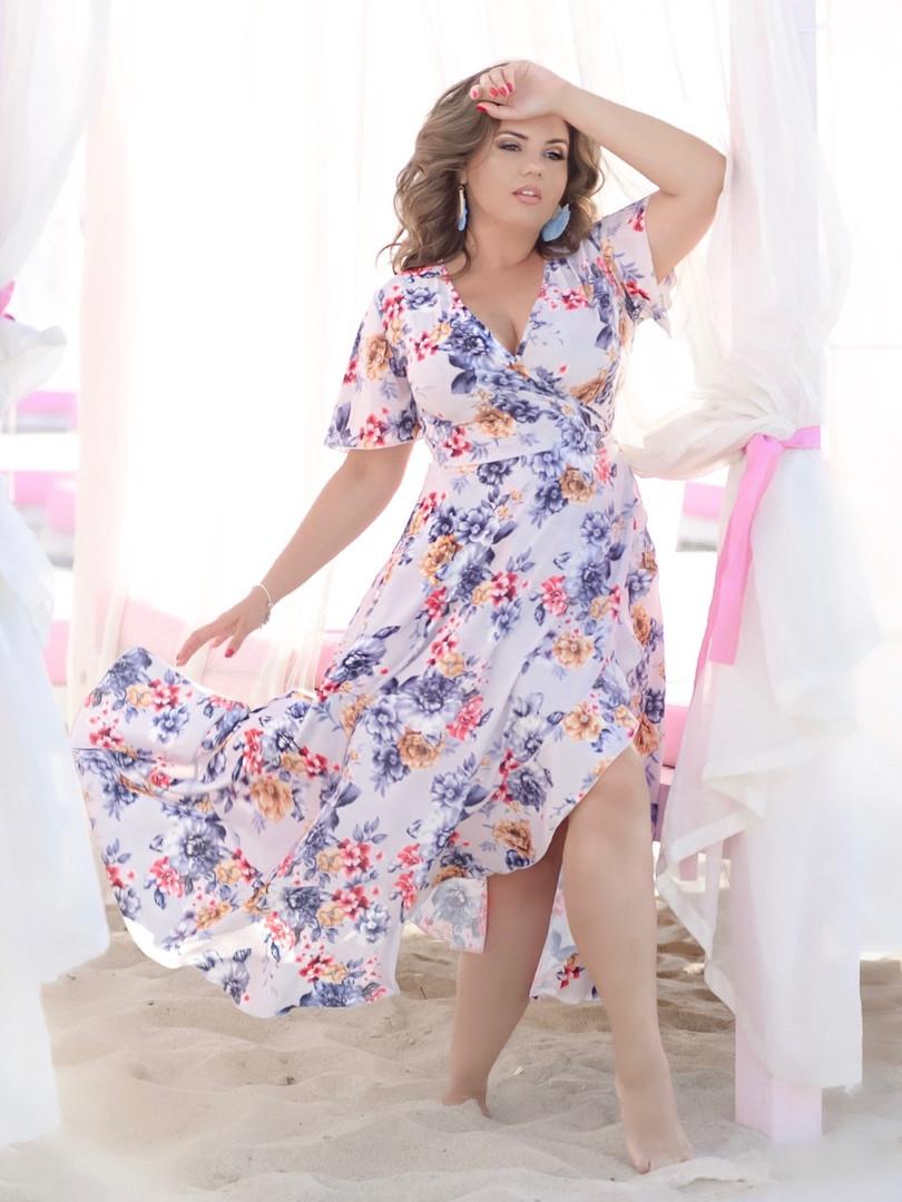 """Асимметричное платье-халат на запах """"Кэрри"""" с рукавами-крылышками (большие размеры)"""