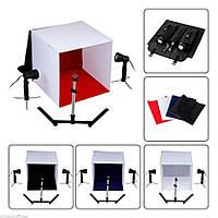 Комплект для фотостудии - для предметной съемки - (лайтбокс 50 х 50 + LED свет + стойка + 3 фона)