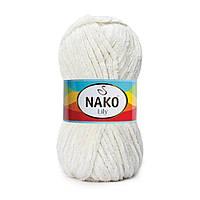 Плюшевая пряжа Nako Lily 6651 крем (Нако Лили, Нако Лилу) нитки для вязания 100% полиэстер