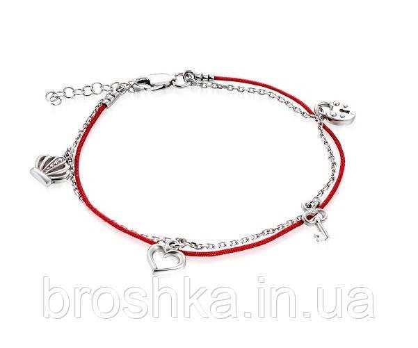 Серебряный браслет с красной нитью, короной и сердцем
