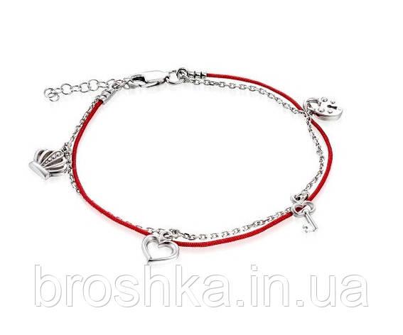 Серебряный браслет с красной нитью, короной и сердцем, фото 2