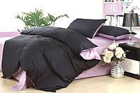 Однотонное постельное белье Сатин  Микс  Черный и Лиловый, Турция, разные размеры двуспальный