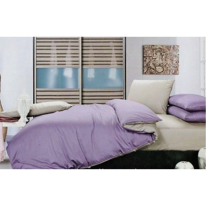Комплект однотонного постельного белья  светло серый + лиловый, сатин, разные размеры двуспальный