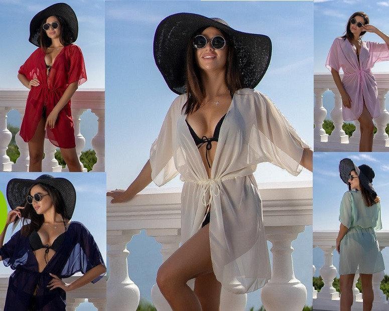 Пляжна туніка купити коротка парео пляжна туніка шифоновий халат