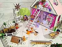Домик для кукол LOL LITTLE FUN с Фермой и лестницей. 2 этажа, 3 комнаты с мебелью, обоями, шторками, текстилем