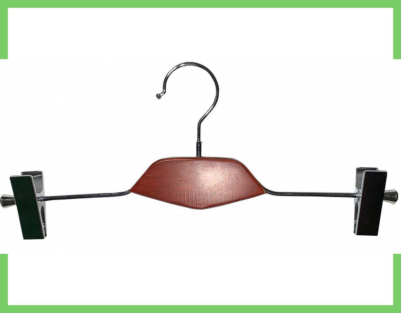 Вешалки плечики тремпеля с деревянной вставкой с прищепками для брюк и юбок, 40 см