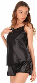 Черная атласная пижама с кружевом Martelle Lingerie