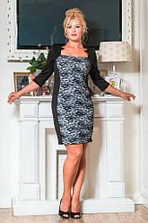 Черное гипюровое миди-платье 8049