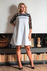 Белое гипюровое миди-платье 8048