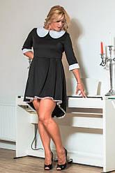 Черное платье с белым воротником 8047