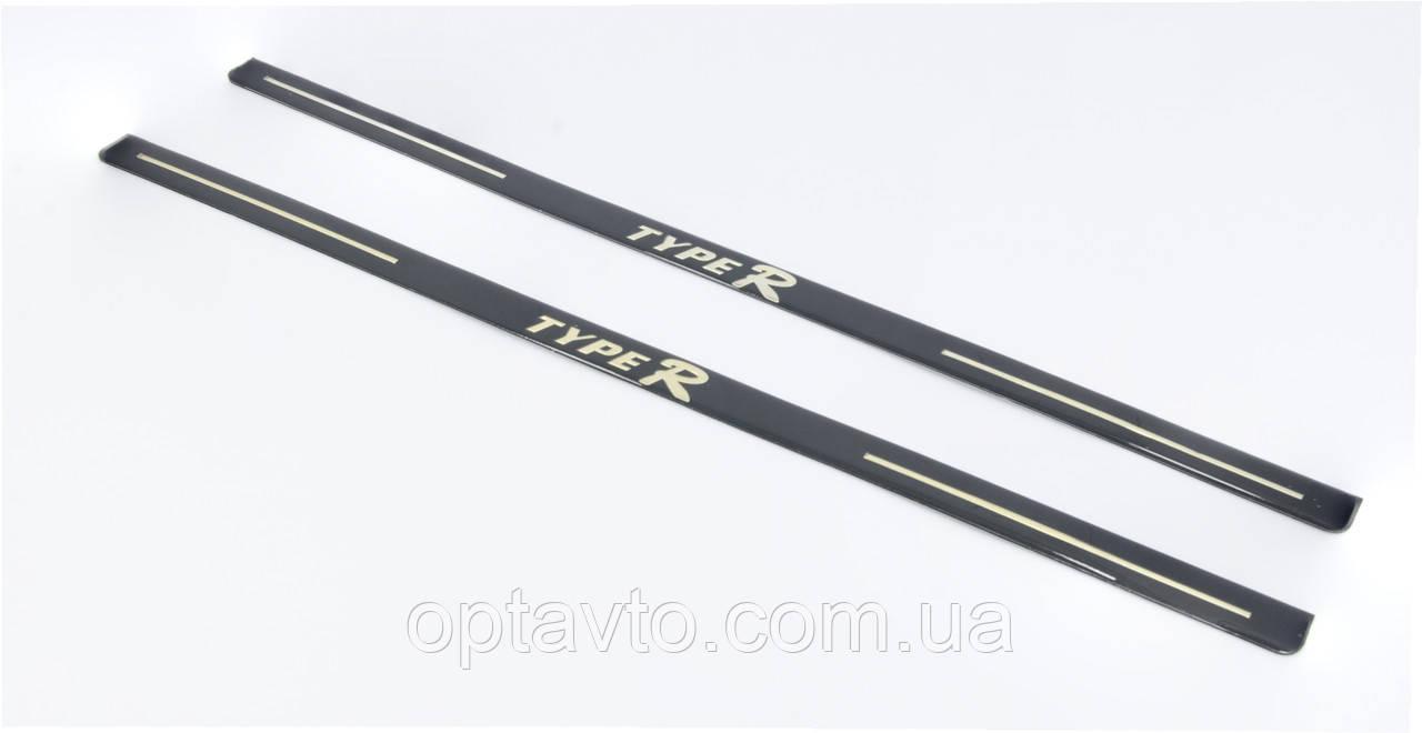 Защитные декоративные наклейки на порог автомобиля TYPE-R / 52 см