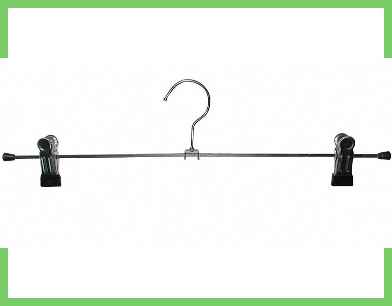 Вешалки плечики тремпеля с прищепками для брюк и юбок металлические 40 см (хром+силикон)