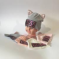 Шапочка для девочек двойная с ушками польский трикотаж от 2 до 5 лет