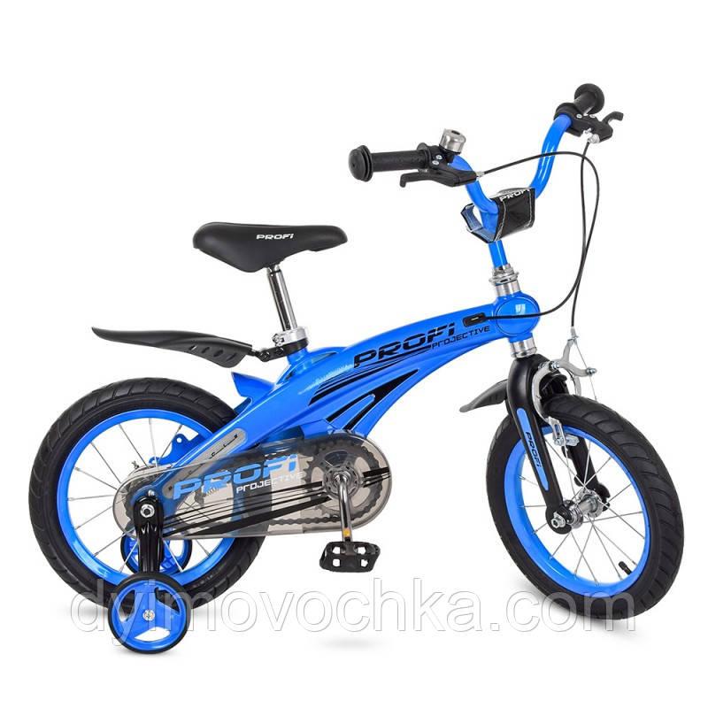 Велосипед детский PROF1 12д. LMG12125 Projective,магнез.рама,синий, доп.колеса