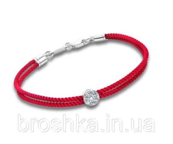 Серебряный браслет с красной нитью и бусиной