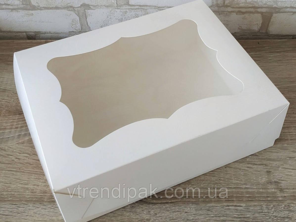 Коробка  для десертів, тістечок, еклерів 330*255*110 з мелованого картону з вікном ПВХ-плівка