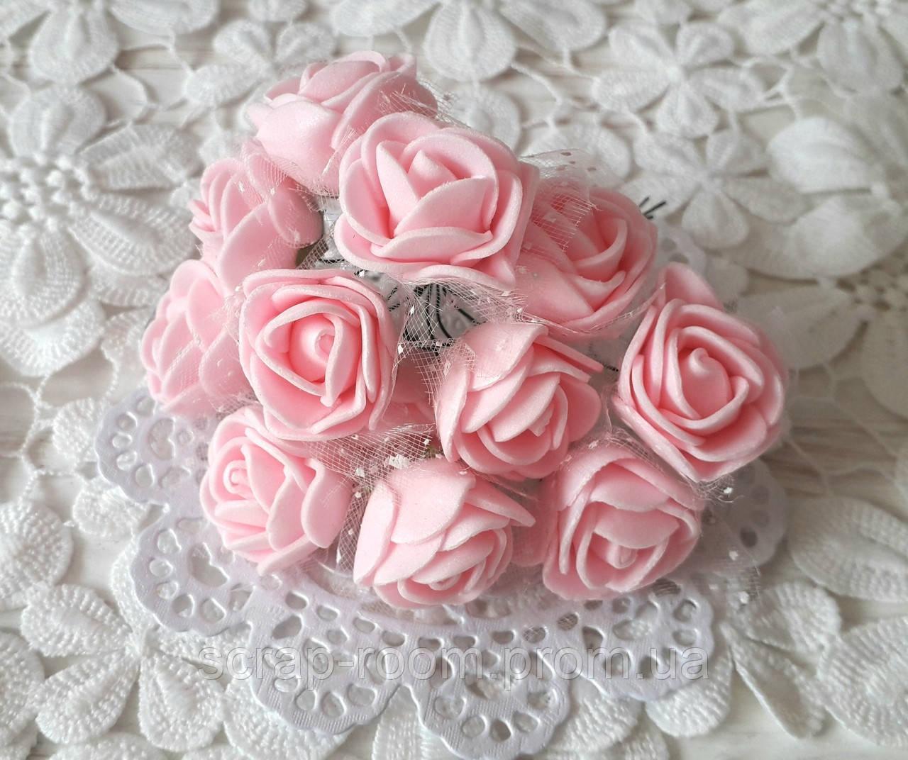 Розы латексные с фатином светло-розовые, светло-розовые розы, розы розовые фатин, букет 12 шт