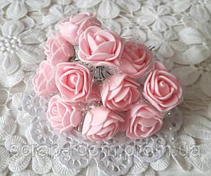 Розы лактесные с фатином светло-розовые, светло-розовые розы, розы розовые фатин, букет 12 шт