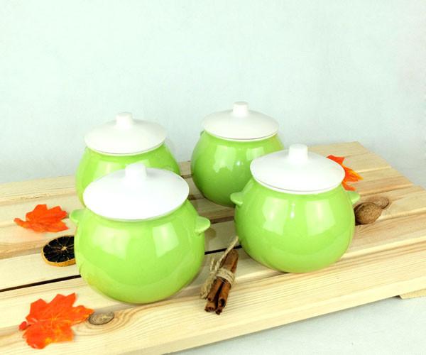 Горшочки для запекания в духовке 4 шт из керамики салатные 600 мл