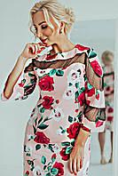 Шикарное, элегантное,оригинальное платье Элисон 02, ткань коттон+сетка,размеры С,М, персик