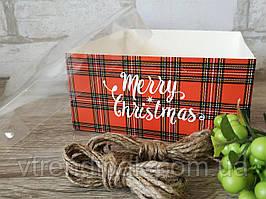 """Коробка для десертів 160*160*80 з прозорою кришкою ПВХ """"Merry Christmas"""" (БЕЗ ВСТАВКИ)"""