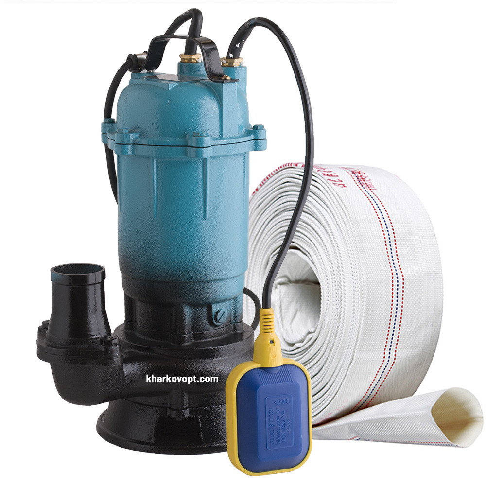 Фекальный насос чугунный корпус с измельчителем DELTA WQD + пожарный рукав 20м