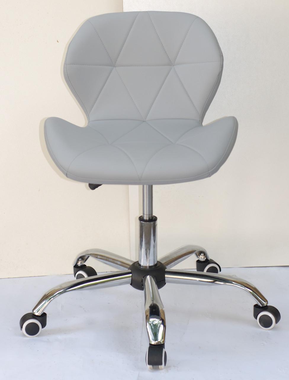 Кресло мастера маникюра на колесиках Invar Office (Инвар) ЭкоКожа серое 35