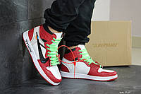 Кроссовки Nike Air Jordan 1 Python мужские, красные с белым, в стиле Найк Джордан, код SD-8144