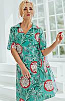 Стильное, оригинальное, сдержанное платье  Бейлис 02, ткань коттон, р. С,Л,ХЛ,ХХЛ, мята