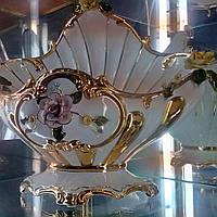 Bruno Costenaro,фарфоровая декоративная фруктовница,в форме Морской раковины,белая,с цветком розой.