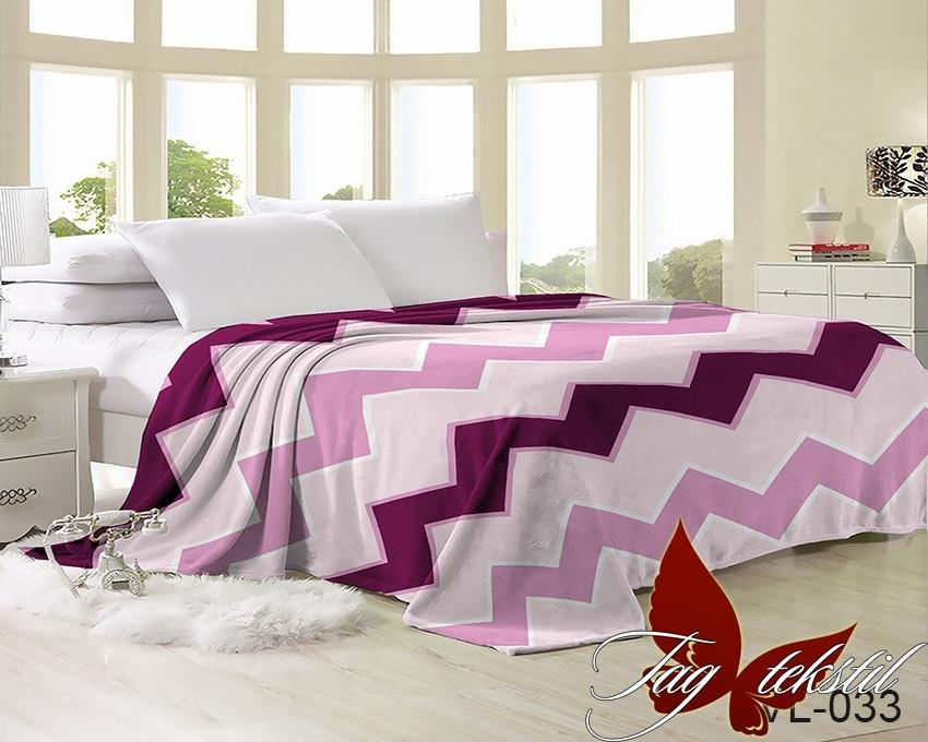Плед покрывало 200х220 велсофт Зигзаг розовый на кровать, диван