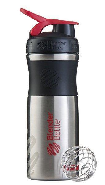 Спортивная бутылка-шейкер BlenderBottle SportMixer Stainless Steel Red 820мл (из нержавеющей пищевой cтали)