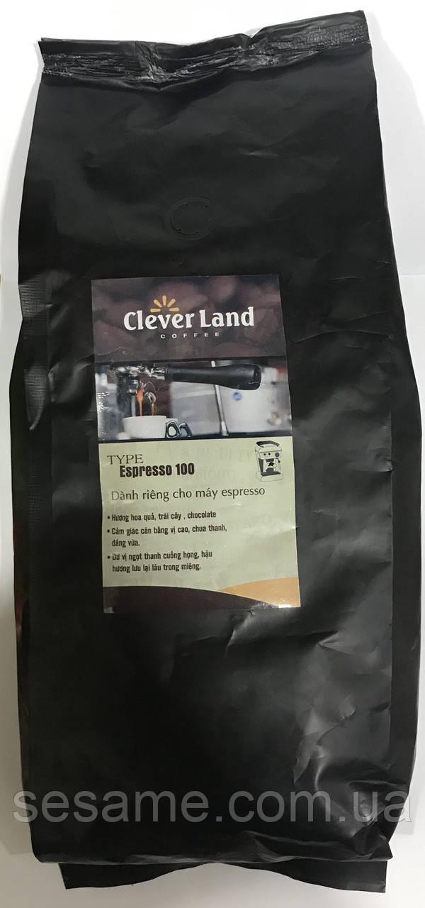 Вьетнамский натуральный Кофе в зернах Clever Land coffee 100 espresso 1кг (Вьетнам)