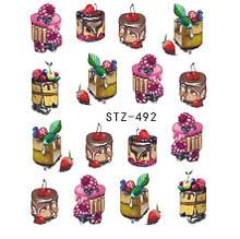 """Наклейки для ногтей """"Пироженки"""" YZW-492"""