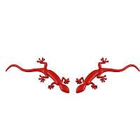 3D эмблемы  ГЕККОН - 2 шт. Правая и левая. Красные