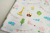 Трикотаж детский интерлок (хлопковая ткань) звери и деревья