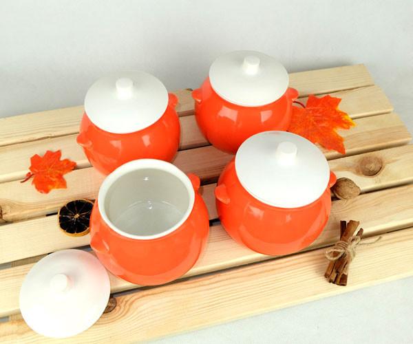 Горшочки для запекания в духовке 4 шт из керамики оранжевые 600 мл