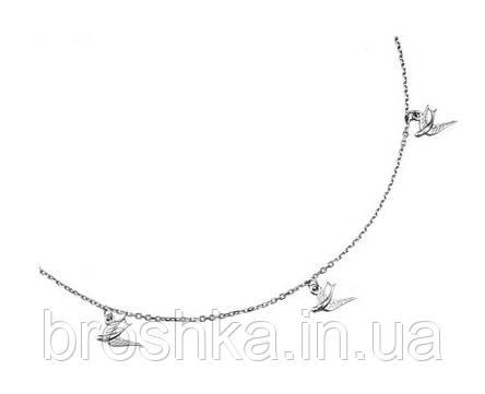 Серебряная цепочка с подвесками в виде птиц, фото 2