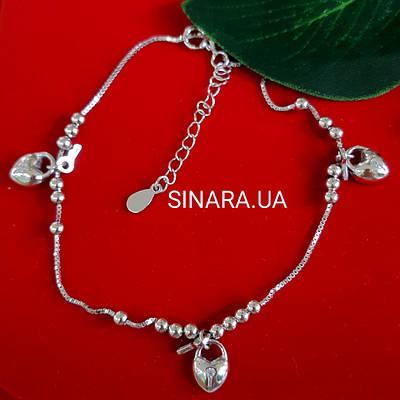 Срібний браслет на ногу Ключики Сердечка - Браслет на ногу срібло