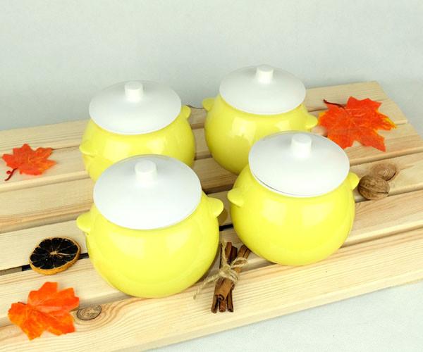 Горшочки для запекания в духовке 4 шт из керамики лимонные 600 мл