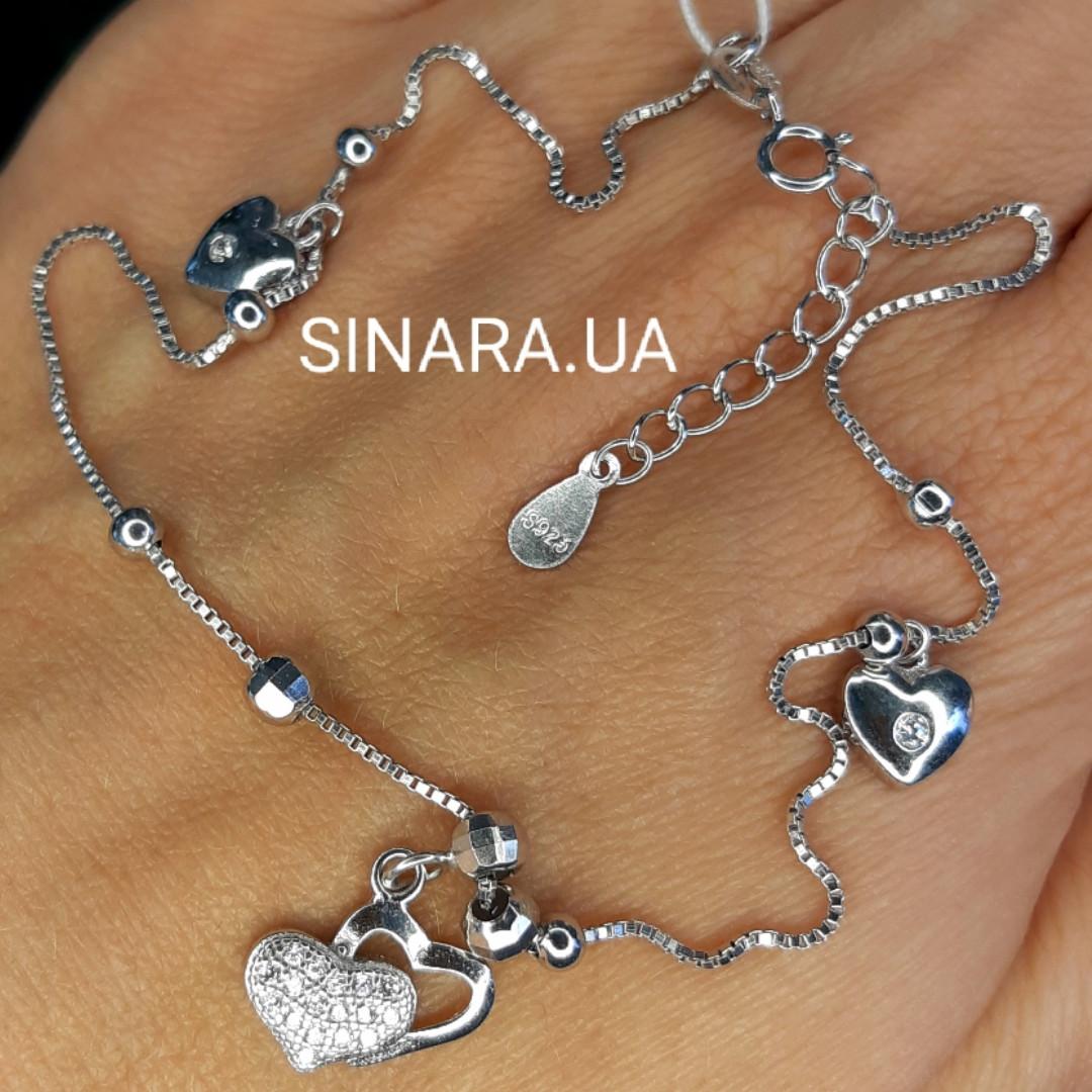Серебряный родированный браслет на ногу с сердечками - Браслет на ногу серебряный с висюльками Сердце