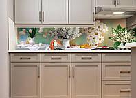 Кухонный фартук белые Цветы и Ягоды (скинали фотопечать ландыши колокольчики ромашки тюльпаны черешни букеты)600*2500 мм, фото 1