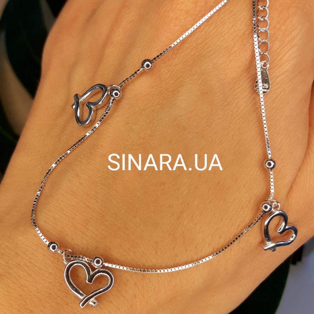 Браслет на ногу родированное серебро с висюльками Сердечки - Браслет на ногу с подвесками Сердца серебро 925