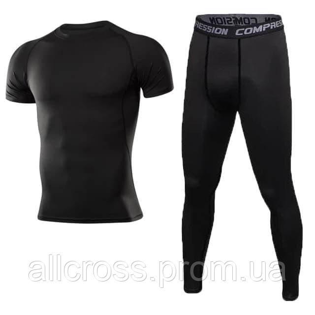 Костюм мужской спортивный с коротким рукавом Compress черный