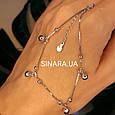 Браслет на ногу с висюльками Колокольчики - Родированный серебряный браслет на ногу с колокольчиками, фото 3