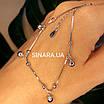 Браслет на ногу с висюльками Колокольчики - Родированный серебряный браслет на ногу с колокольчиками, фото 2
