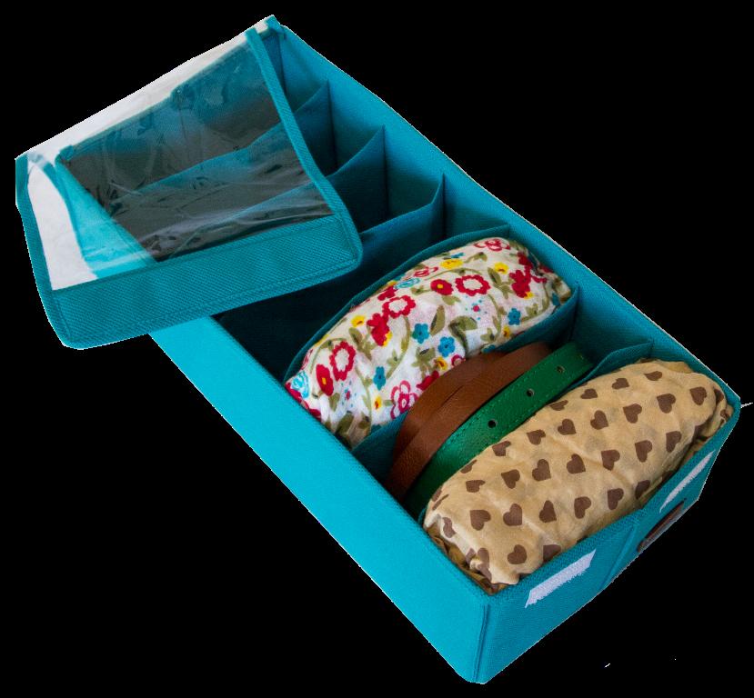 Коробочка для носков/колгот/ремней с крышкой ORGANIZE Lzr-Nsk-Kr лазурь