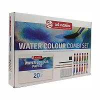 Набор акварельных красок ArtCreation Combiset, 12*12мл, склейка А4, кисточки 2шт, карандаш, клячка, Royal Talens